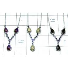 Sterling silver gems Necklaces-jyn003