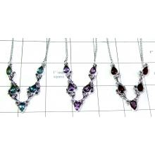 3 Pcs faceted gemstone Necklaces-jyn006
