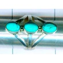 Silver triple stone turquoise ring-nsdynr007