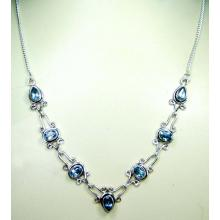 Sterling silver gems necklace-ss4n010