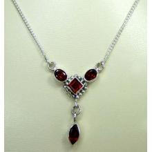 Sterling silver gems necklace-ss4n016