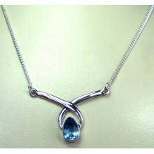 Sterling silver Blue Topaz Necklace-ss5n001