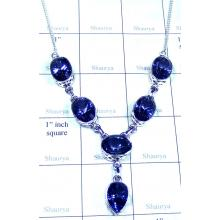 Sterling silver Blue Mystic Necklace-ss5n026