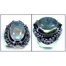 Silver Rainbow Moonstone Ring-ss5r076
