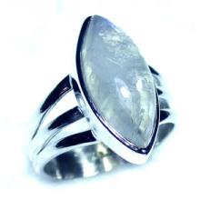 Rainbow Moonstone marquis silver Ring-ss5r151