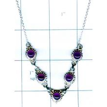 Silver gem stone necklace collection-w8n009
